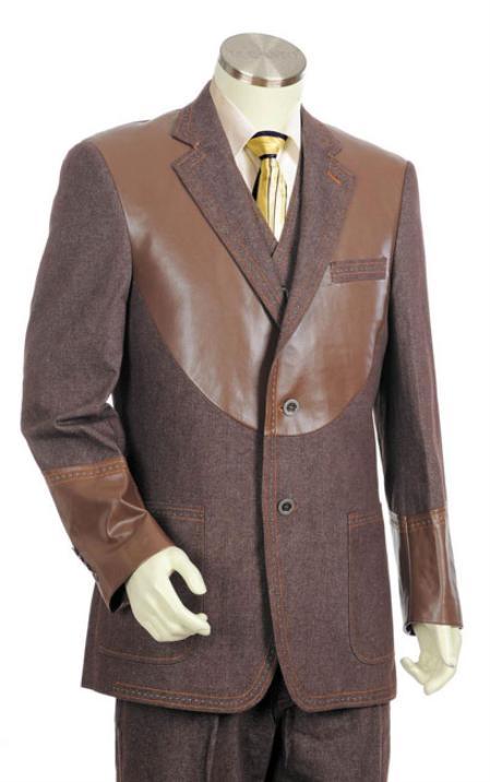 Mens Brown 2Button 3pc Denim Cotton Fabric Two Tone Blazer/Suit/Tuxedo