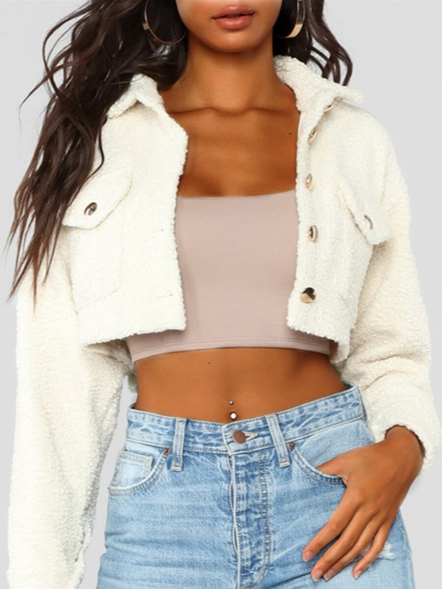 LW Lovely Casual Pocket Button Design White Faux Fur