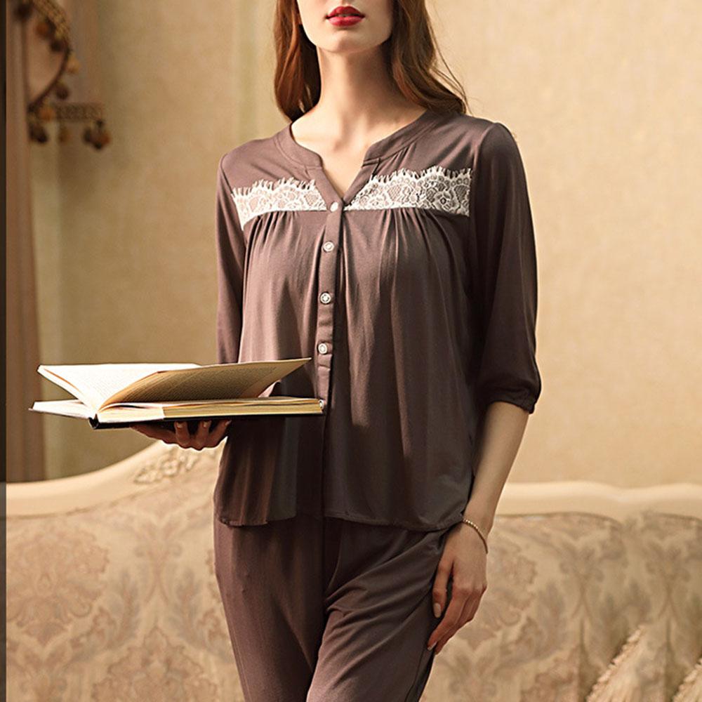 Modal Cotton Simple Lace Sleep Top Women's Pajama Suit Sleepwear Set