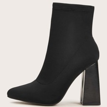 Botas calcetines con tacon grueso minimalista