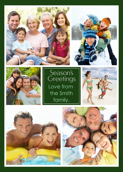 Holiday Photo Cards 5x7 Folded Cards, Standard Cardstock 85lb, Card & Stationery -Collage Season's Greetings
