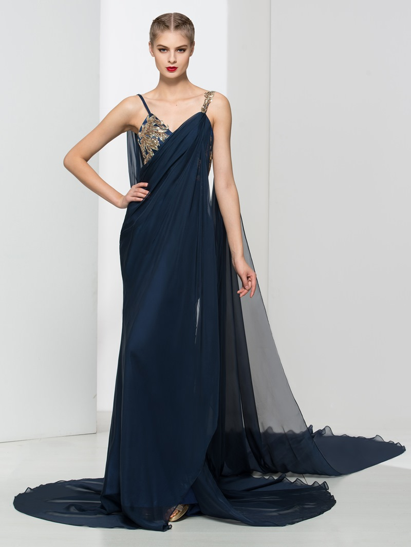 Ericdress Straps Sequins Draped Watteau Train Evening Dress