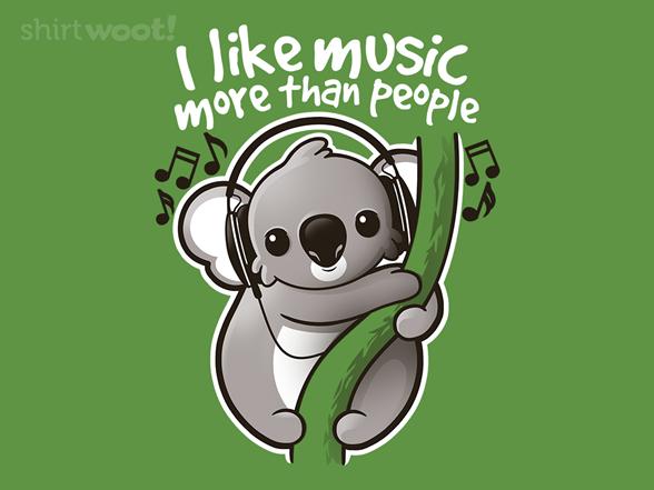 Koala Likes Music T Shirt