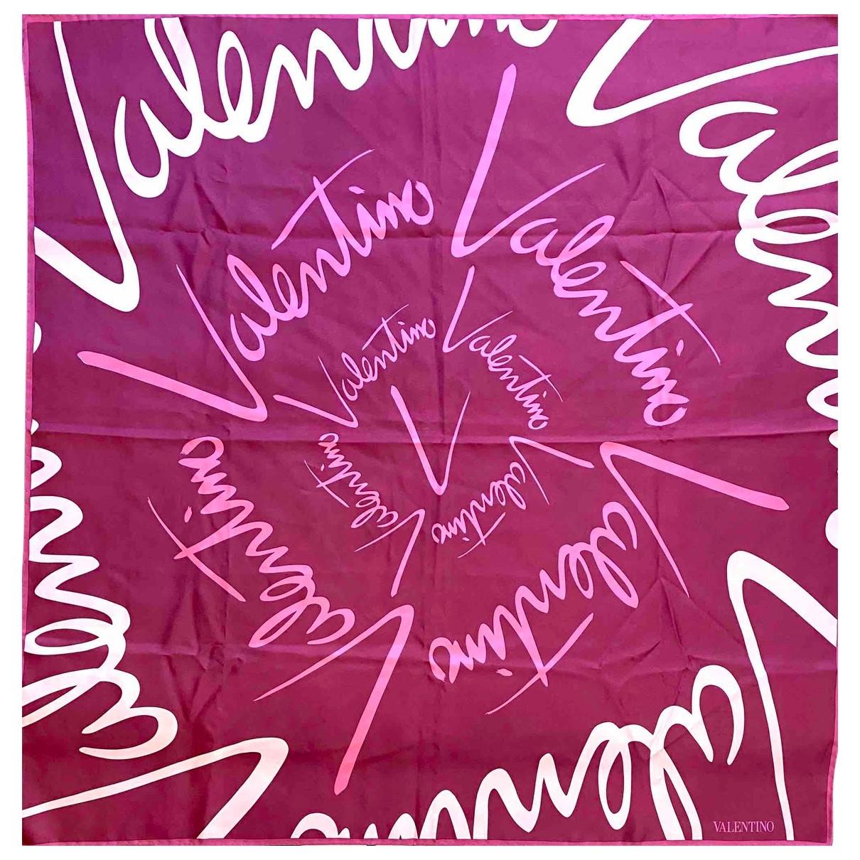 Valentino Garavani - Carre   pour femme en soie - bordeaux