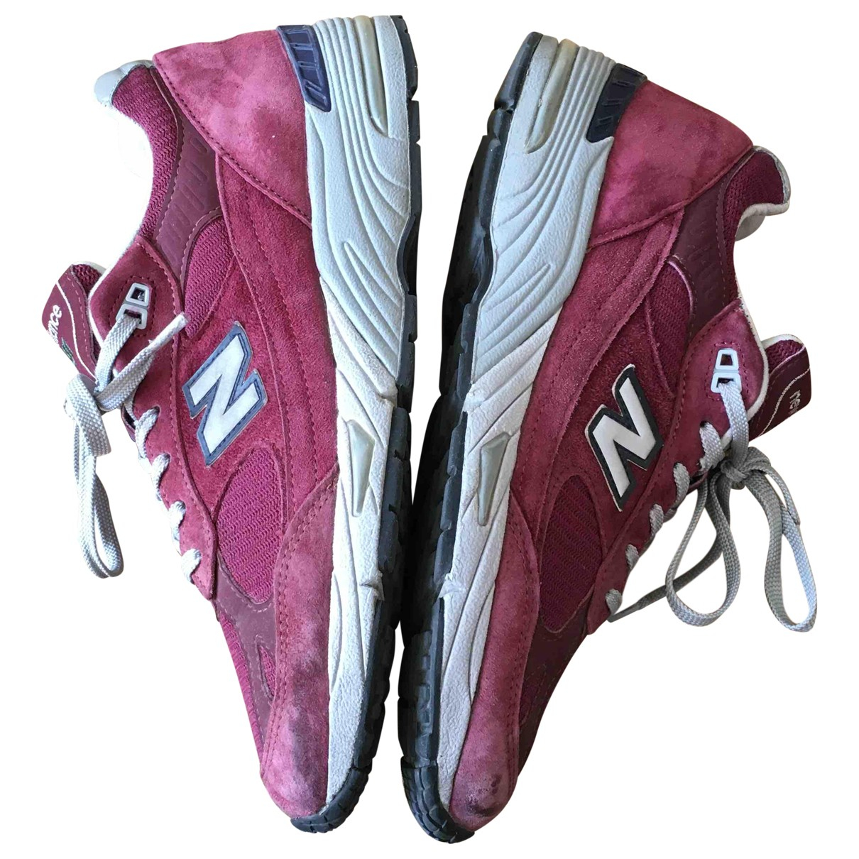 New Balance N Burgundy Suede Trainers for Men 42.5 EU