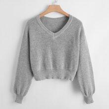 Plus Drop Shoulder V Neck Sweater