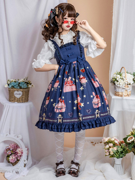 Milanoo Sweet Lolita JSK Dress Blue Strawberry Dessert Bows Lolita Jumper Skirts