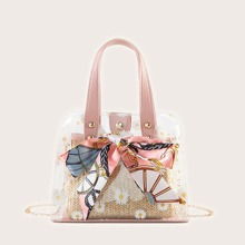 Floral Graphic Satchel Bag With Inner Pouch