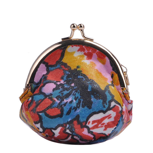 Genuine Leather Print Coin Purse For Women