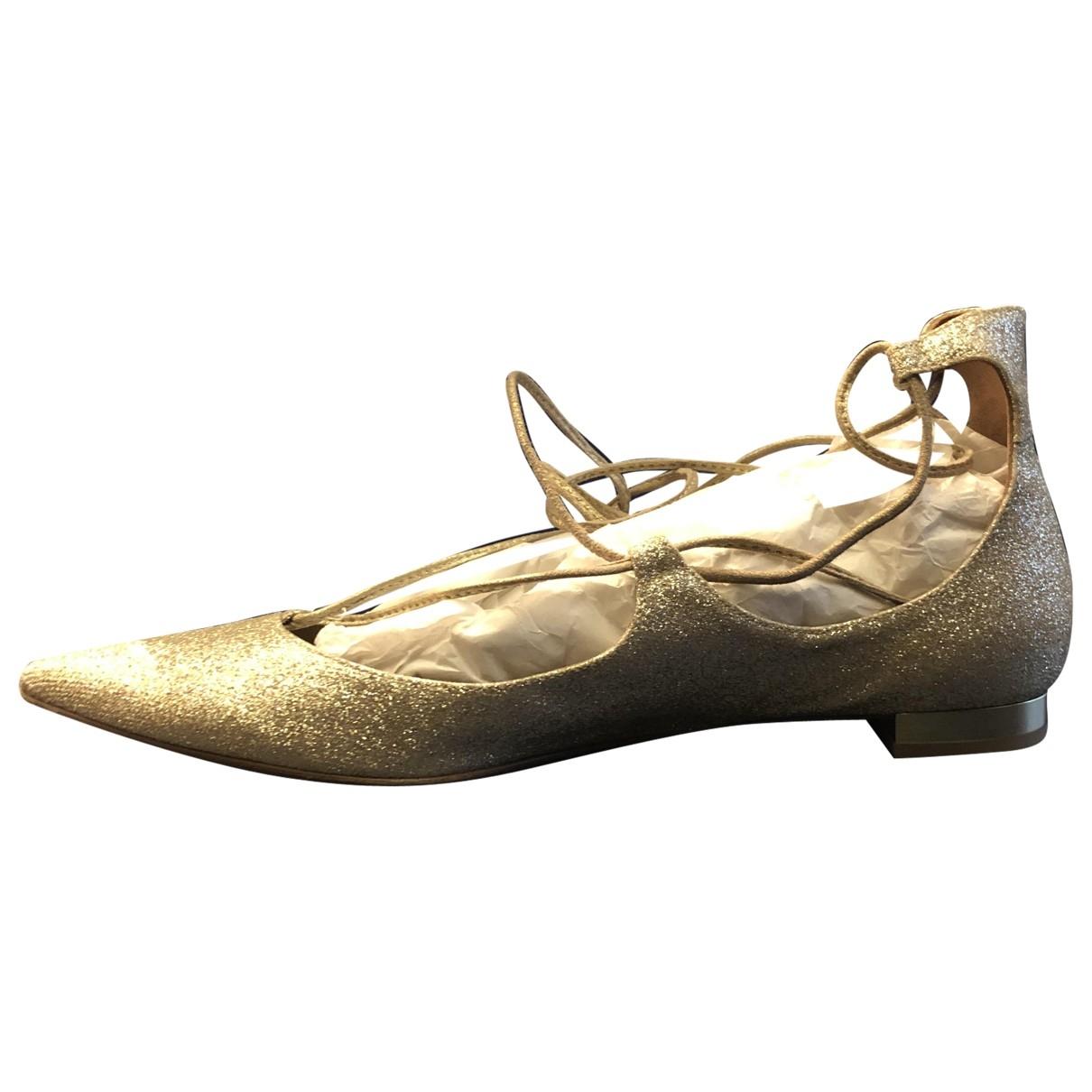 Aquazzura Christy Ballerinas in  Gold Lackleder