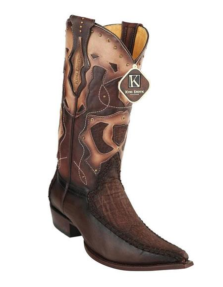 Men's King Exotic Embroidered 3X Toe Brown Genuine Elephant Skin Boots