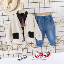 Outfits dos piezas para niño pequeño Parches A rayas Multicolor Casual