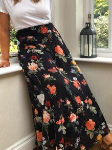 Plus Floral Print Skirt