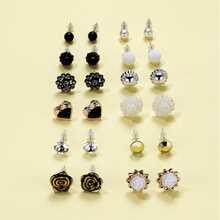 12pairs Flower & Heart Design Stud Earrings