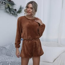 Einfarbiges Flanell Top & Shorts