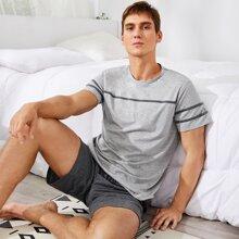 Schlafanzug Set mit Streifen