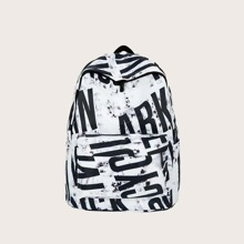 Letter Graphic Pocket Backpack