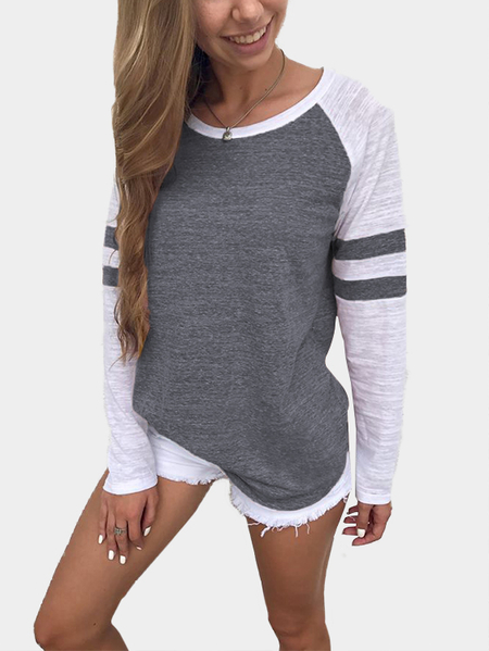 Yoins Dark Grey Spell Color Round Neck Long Sleeves T-shirt