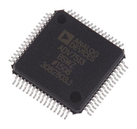 Analog Devices ADV7513BSWZ, HDMI Transmitter for DDR, HDMI, ITU656, RGB, SPDIF Stereo LPCM, YCbCr, 8-Channel, 64-Pin LQFP