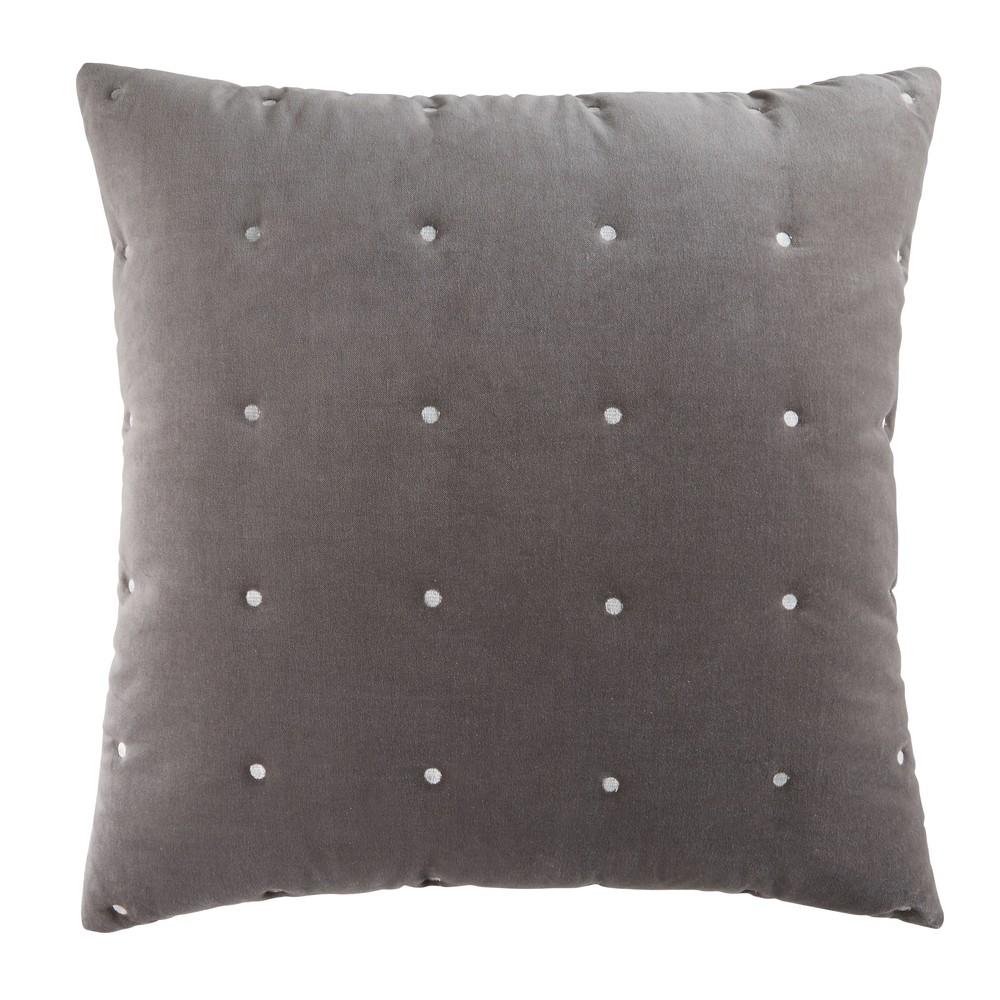 Kissen aus grauem Pikee-Samt 60x60