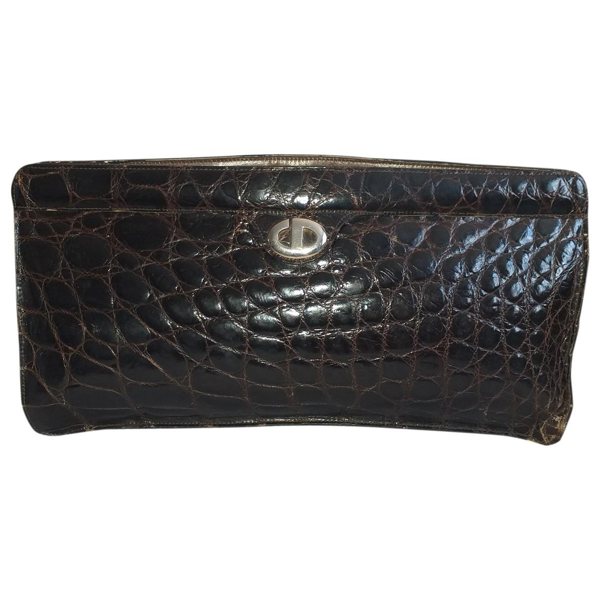 Dior \N Clutch in  Braun Krokodil