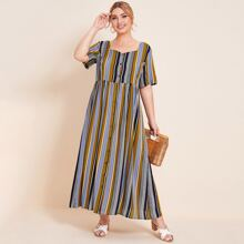 Plus Sweetheart Button Front Striped Maxi Dress