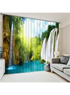 3D Waterfalls and Trees Spectacular Scenery Printed Custom Blackout Living Room Curtain