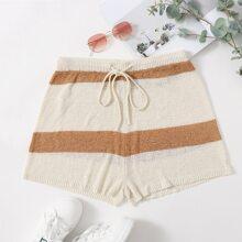 Shorts tejidos de cintura con cordon de color combinado