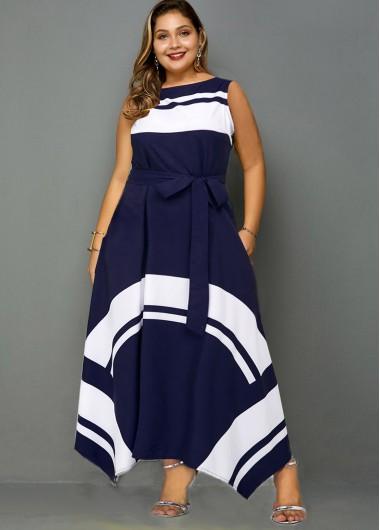Asymmetric Hem Contrast Belted Plus Size Dress - 2X