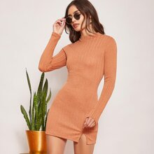 Mock-Neck Split Hem Textured Knit Dress
