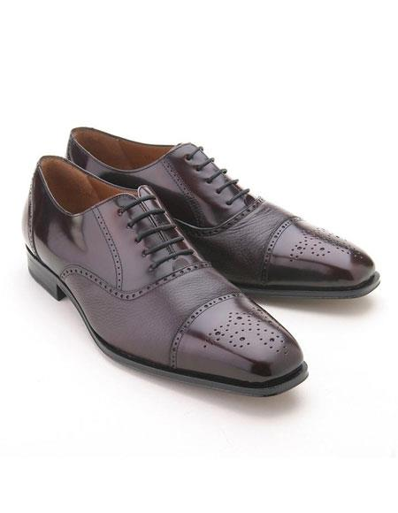 Mens Burgundy Cap Toe Calfskin Contrast Deerskin Lace Up Leather Shoes