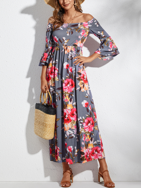 YOINS Grey Random Floral Print Off The Shoulder Bell Sleeves Dress