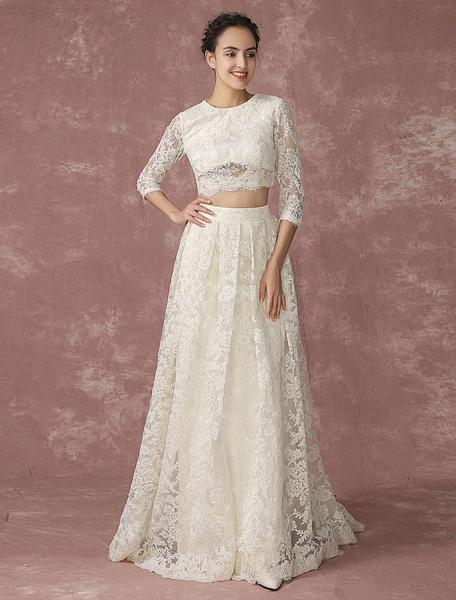 Milanoo Crop Top Lace Wedding Dress Back Design Pockets Bridal Gown Quarter Sleeves Court Train Bridal Dress
