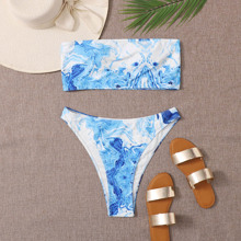 Grosse Grossen - Bandeau Bikini Badeanzug mit Marmor Muster