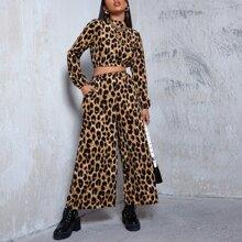 Top mit Stehkragen und Leopard Muster & Hose Set mit breitem Beinschnitt