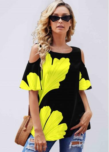Yellow Ginkgo Biloba Print Cold Shoulder T Shirt - S
