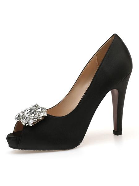 Milanoo Peep Toe High Heels Stiletto Heel Rhinestones Chic Slip-On 4.1 Low-Tops Blue Women\\\'s Shoes