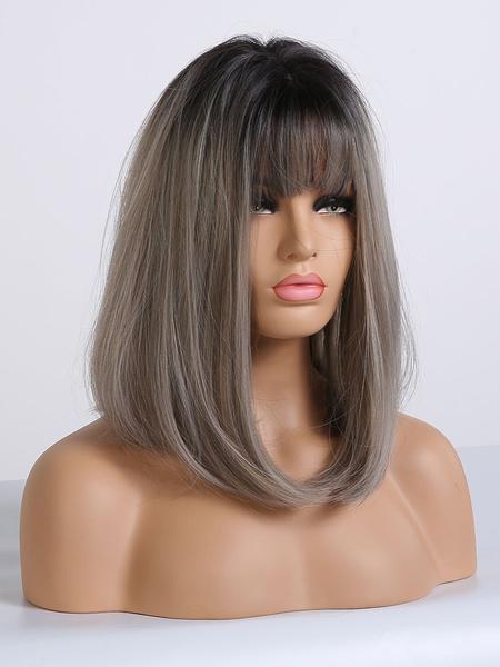 Milanoo Las mujeres peluca larga recta de cafe de Brown Rayon Casual pelucas sinteticas en capas largas