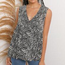 V-Neck Sleeveless Zebra Stripe Top