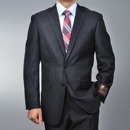 2 Button Black Herringbone Suit Mens Cheap