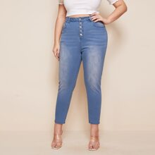 Plus Buttoned Fly Bleach Wash Jeans
