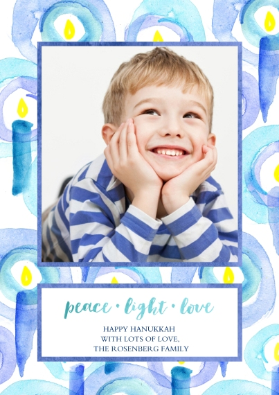 Hanukkah Photo Cards 5x7 Cards, Premium Cardstock 120lb with Rounded Corners, Card & Stationery -Peace Light and Love