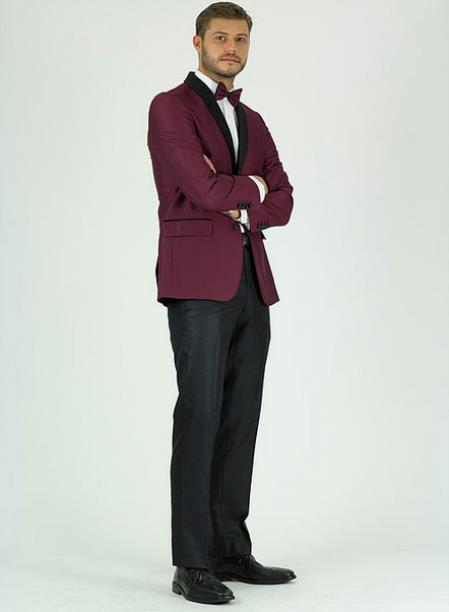 Men's Single Breasted Burgundy Shawl Lapel Side Vents Jacket