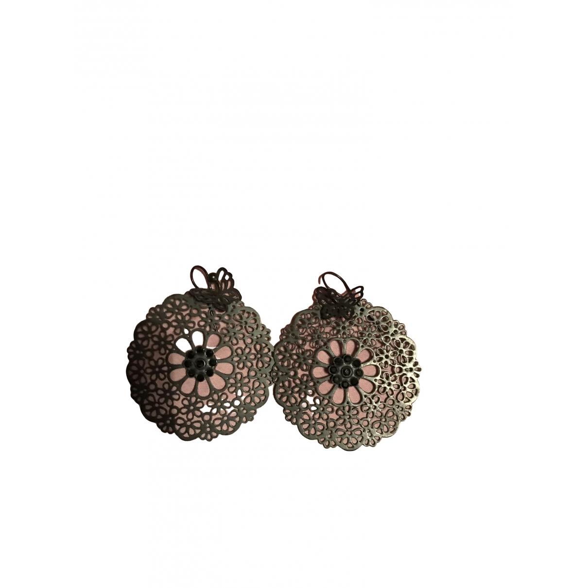 Gas Neige & Flocon Black Steel Earrings for Women \N