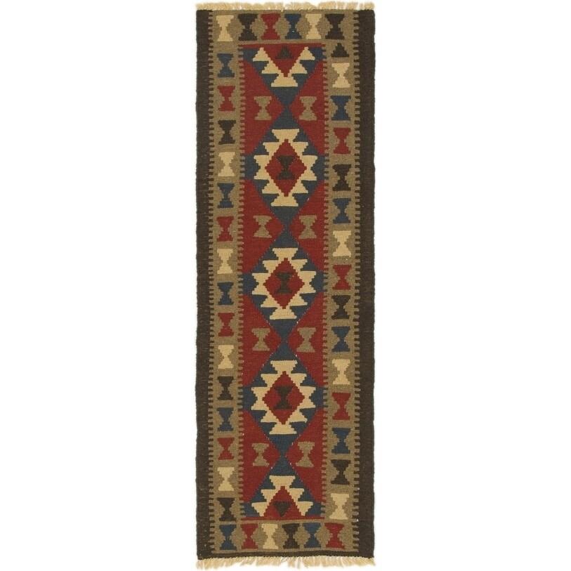 Hand Woven Kilim Maymana Wool Runner Rug - 2 x 6 2 (Red - 2 x 6 2)