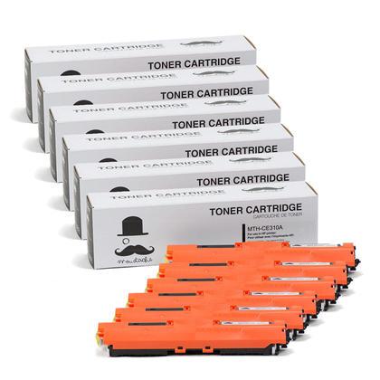 Compatible HP 126A CE310A Black Toner Cartridge - Moustache - 6/Pack