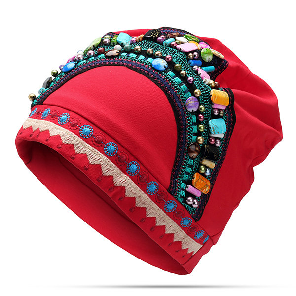 Women's Embroidery Ethnic Cotton Beanie Hat Vintage Good Elastic Breathable Turban Caps