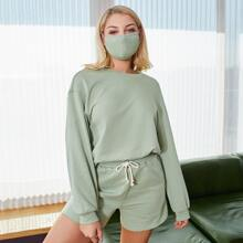 Drop Shoulder Pullover With Mask & Drawstring Waist Shorts Set