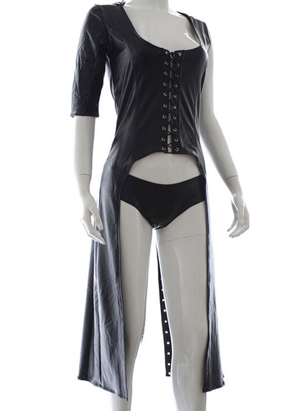 Milanoo Womens Black Jewel Neck Steampunk Lace-up Buttons 2-Piece Bustier