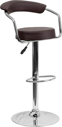 CHTC31060 Collection CH-TC3-1060-BRN-GG Barstool with Adjustable Height  Swivel Round Shaped Seat  Footrest  Chrome Arms  Contemporary Style  Chrome